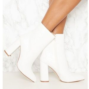 NEVER USED white faux snake ankle booties SIZE 9!
